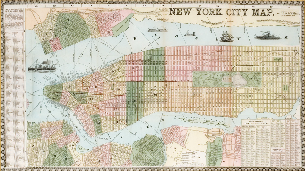 New York Map Central Park 1857The 19th Century Rare Book and ... Central Park Map Nyc on