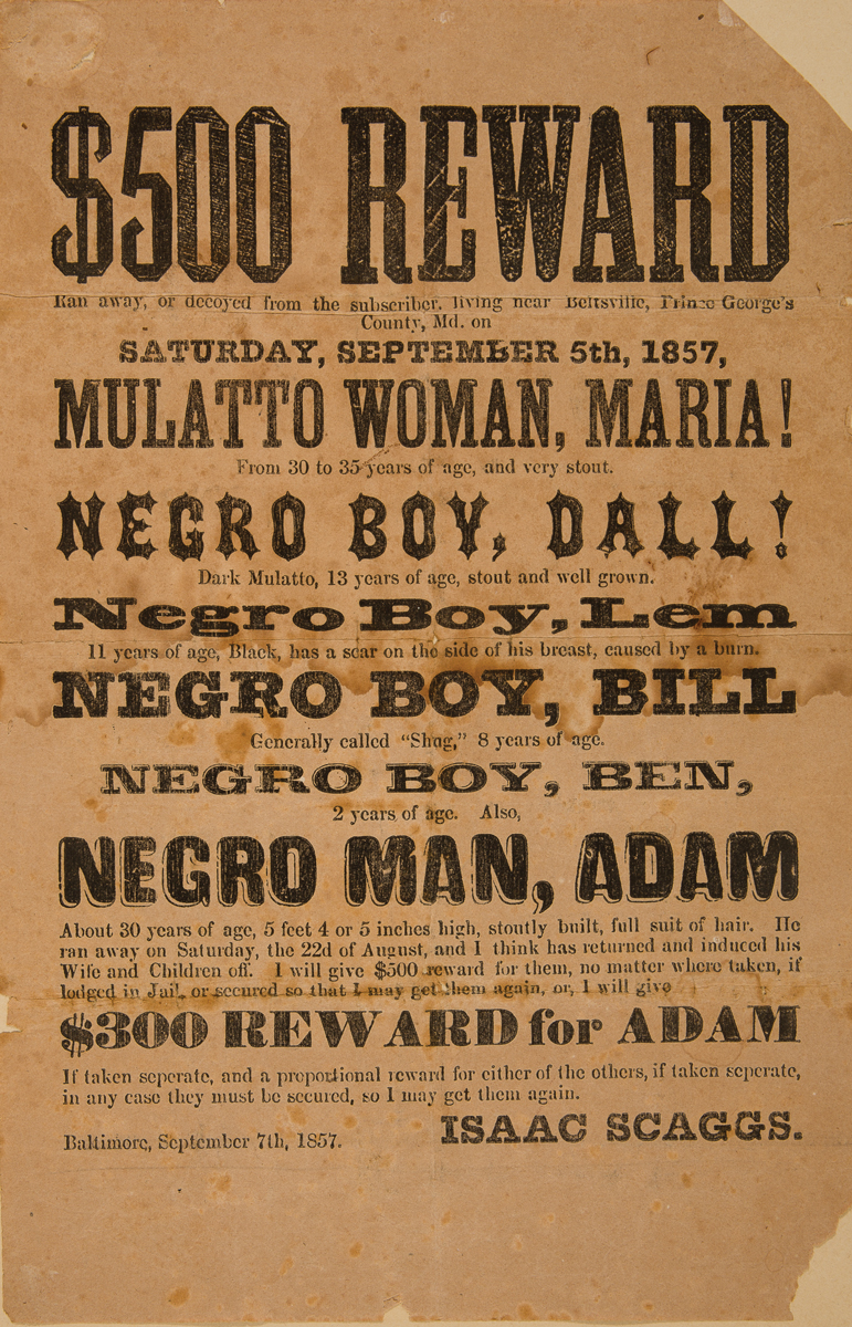 runaway slave poster 1857the 19th century rare book and photograph shop